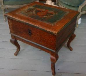 French Painted Side Table / Coffer on Legs
