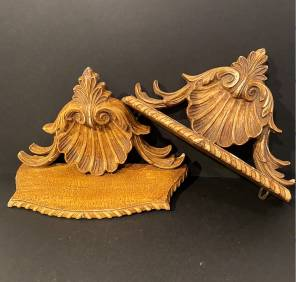 Pair of 19th C Carved Wall Brackets Scalloped Shells