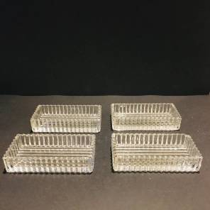 4 Art Deco cut glass 'vide poche'