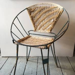 Metal and Woven Side Chair