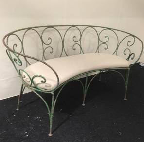 French 19th Century Wrought Iron Bench upholstered in Swedish Linen