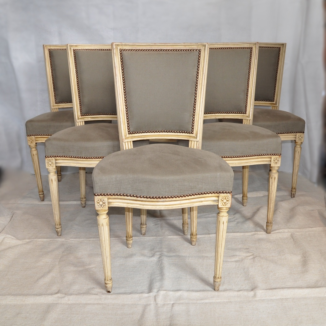 A Set Of 6 French Louis XVI Style Dining Chairs